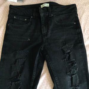 Zara skinny black torn jeans